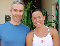 Tom McCook with Natalie Coughlin in 2004