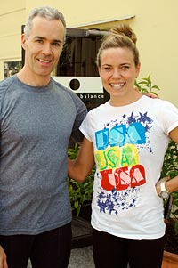 Tom McCook with Olympic swimmer Natalie Coughlin in July 2008
